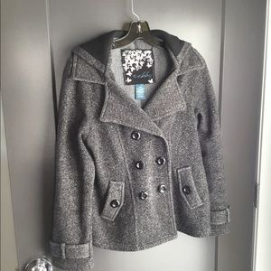 Sebby Double Breasted Fleece Trench Coat W/ Hood